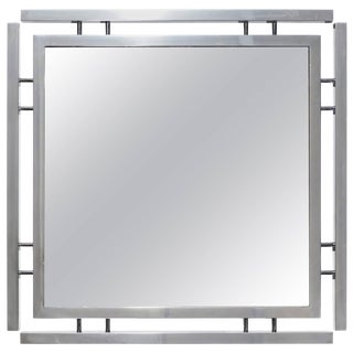 Chrome Mirror by Guy Lefevre for Maison Jansen, 1970s For Sale