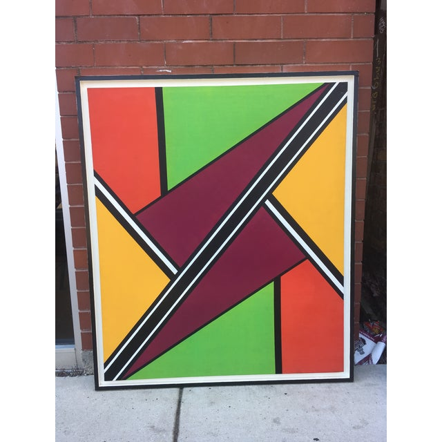 """Vibrant abstract oil and acrylic painting. Entitled """"Intersection #3"""" by unknown artist. Definitely an attention getter!"""