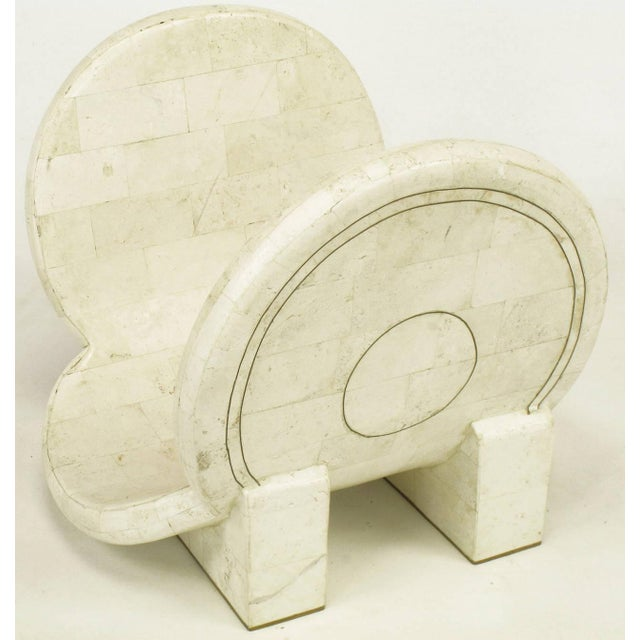 Tessellated Fossil Stone and Brass Postmodern Magazine Holder - Image 5 of 5