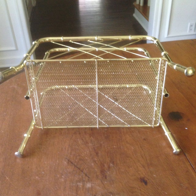 Gold Vintage Faux Bamboo Gold Magazine Rack For Sale - Image 8 of 11