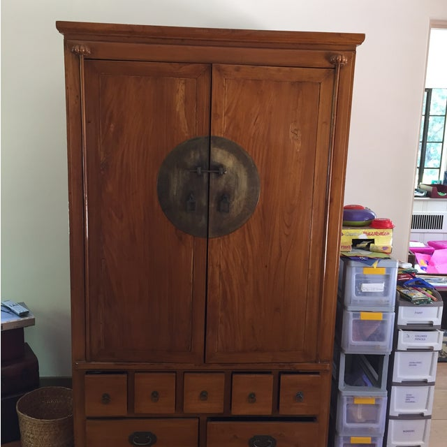 Chinese Medallion Cabinet/Armoire - Image 5 of 6