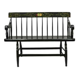 Antique American Colonial Windsor Style Small Black Hitchcock Style Bench For Sale