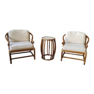 Late 20th Century McGuire Rattan Ming Chairs and Drum Table - 3 Pieces For Sale