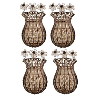 Italian Hand Beaded Crystal Sconces. 2 Pairs - Total of 4. For Sale