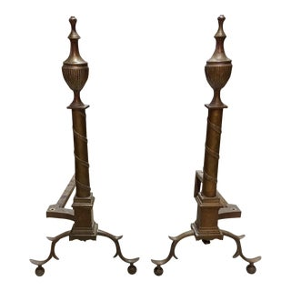 Neoclassic Brass Urn Top Andirons - A Pair