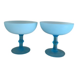 Venetian Turquoise Blue Frosted Encased Glass Tazza- a Pair For Sale