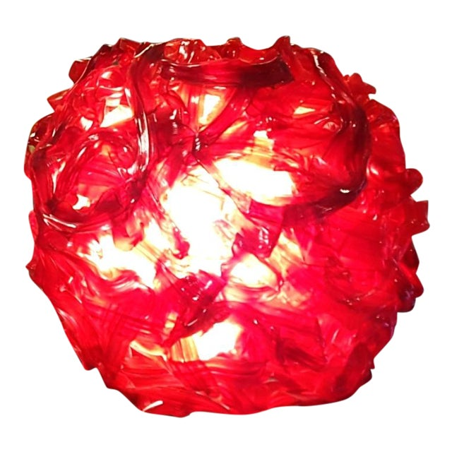 """Mid Century """"Spun Glass"""" Red and White Swag Light - Image 1 of 6"""