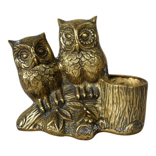 Vintage Brass Owls Pen Holder For Sale