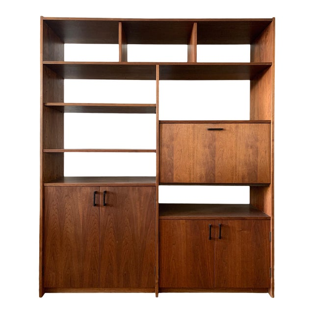 Mid-Century Walnut Shelving Unit with Desk For Sale