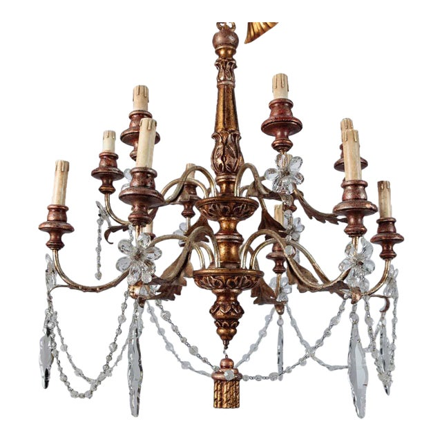 19th Century French Twelve Light Gild Wood and Crystal Chandelier For Sale