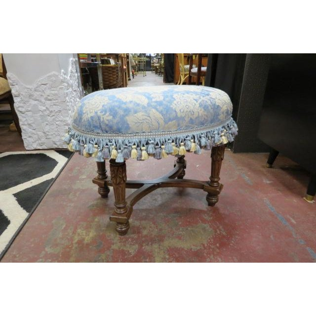 1930s Antique Carved Walnut Oval Footstool For Sale In Chicago - Image 6 of 6