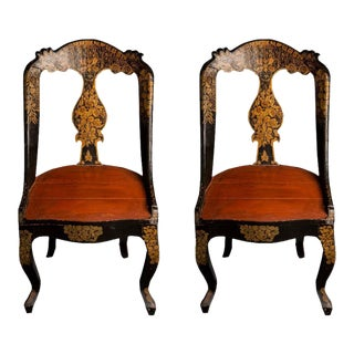 Stylish Pair of Decorative Hand-Painted Anglo-Indian Slipper Chairs, circa 1930