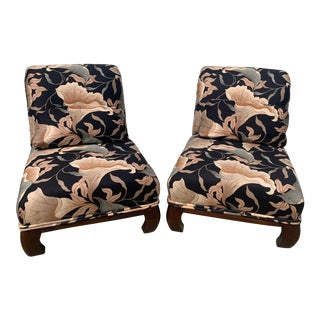 Late 20th Century Ming Leg Floral Upholstered Rollback Slipper Chairs - a Pair For Sale