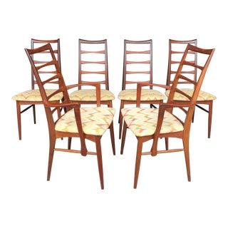 """6 Koefoeds Hornslet """"Lis"""" Teak Dining Chairs Niels Koefoed For Sale"""