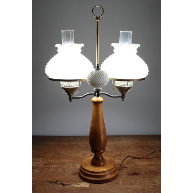 1950s 1950s Vintage Double Hobnail Milk Glass Student Lamp With Maple Wood Base For Sale - Image 5 of 11