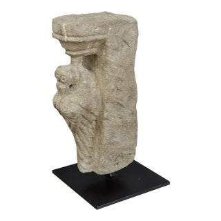 Carved Stone Architectural Element Sculpture With Bird For Sale