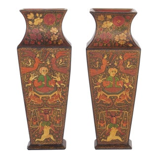 Antique Kashmiri Vases - A Pair For Sale