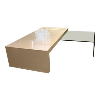Ligne Roset Pele-Mele White Lacquer & Glass Dual Level Table For Sale