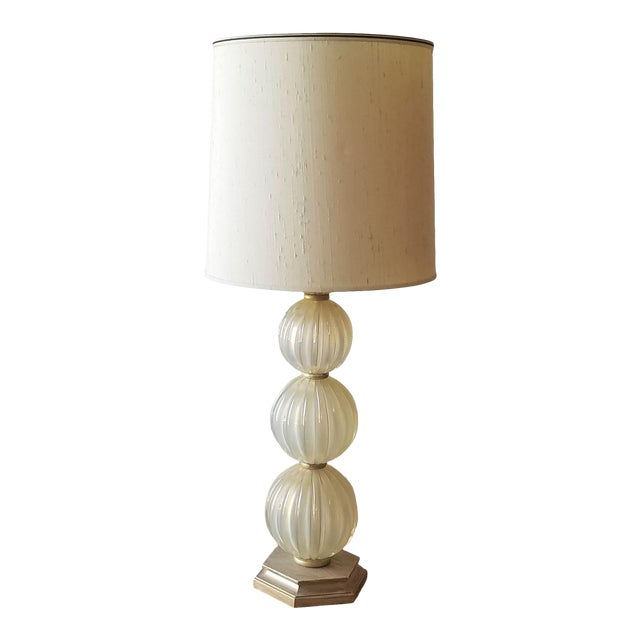 Mid 20th Century Italian Murano Aventurina Glass Table Lamp For Sale