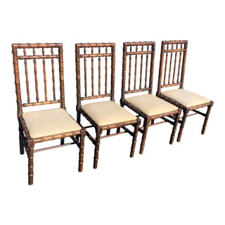 Set of Four Mid Century Faux Bamboo Chairs For Sale