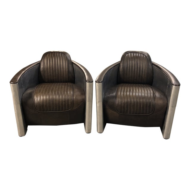 Pair of Restoration Hardware Aviator Chairs For Sale