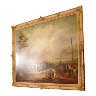 Monumental 18th Century French Oil on Canvas Painting in Ornate Gilt Frame For Sale
