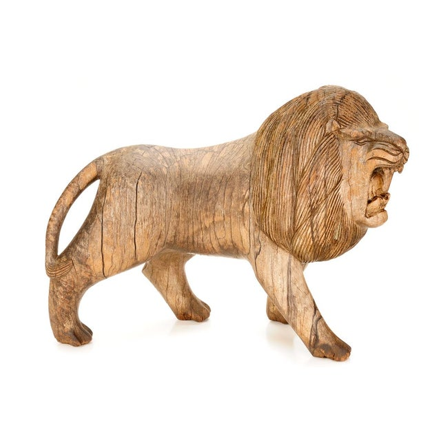 "Roaring Lion Antiques 23"" Carved Wood Sculpture - Image 1 of 9"