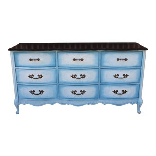 Americana Bassett Blended Denim Painted Wood Dresser/Credenza For Sale