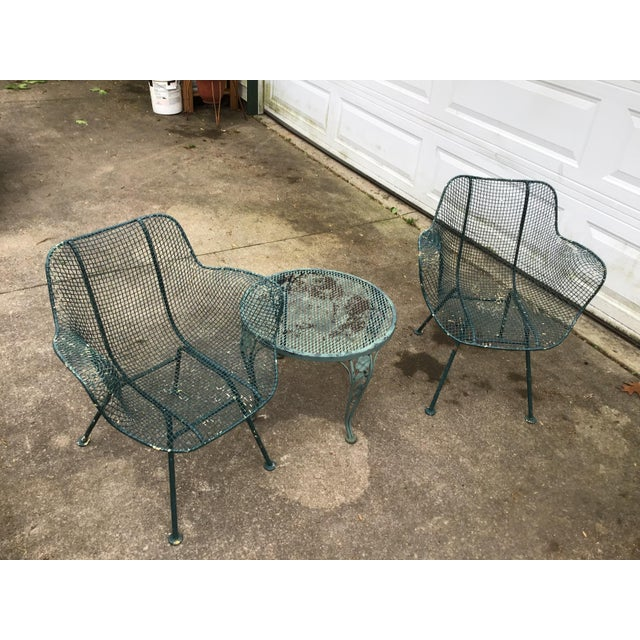 Metal Sculptura Chair Table Russell Woodard Patio Set - 3 Pieces Last Call For Sale - Image 7 of 10