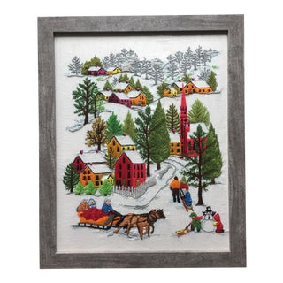 Vintage Embroidery Winter Christmas Holiday Scene For Sale