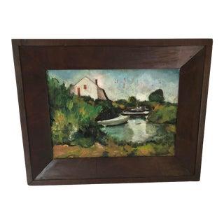 1930s Vintage Framed Landscape Oil Painting For Sale
