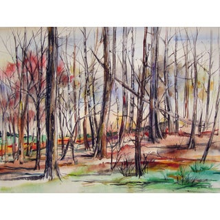 Mid Century Modernist Autumn Forest Watercolor Painting For Sale