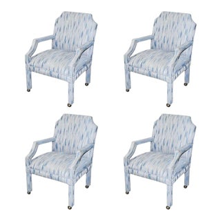 Set of 4 Upholstered Mid-Century Dining Room Armchairs - After Milo Baughman For Sale