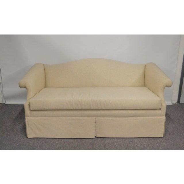 Vintage Linen Upholstered Loveseat For Sale - Image 4 of 4