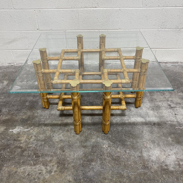 McGuire Bamboo Brass Glass Coffee Table For Sale - Image 12 of 12