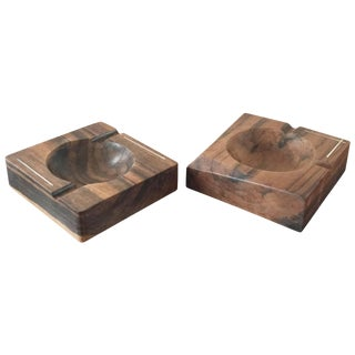 Faux Pair of Palisander and Steel Inlay Scandinavian Ashtrays For Sale