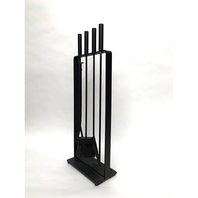 Black 1970s Vintage Modernist Fireplace Tool Set - 5 Pieces For Sale - Image 8 of 11