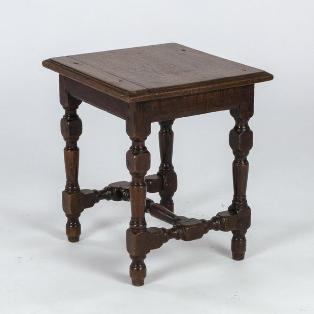 English Oak Square Stool With Turned Legs and H-Stretcher, Circa 1890 For Sale In San Francisco - Image 6 of 11