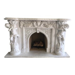 Italian Carved Marble Fireplace