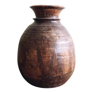 Vintage Rustic Wooden Vase For Sale