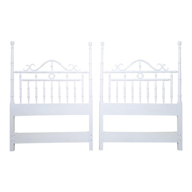 Vintage Kensington by Drexel Twin Faux Bamboo Headboards - a Pair For Sale