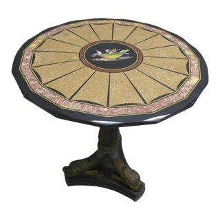 1870s Antique Pietra Dura Center Table For Sale