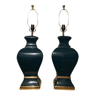 Teal and Gold Table Lamps - a Pair