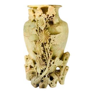 Vintage Floral Carved Soapstone Vase For Sale