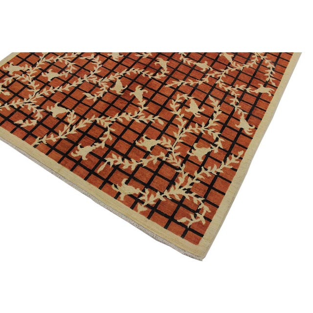Contemporary Ziegler Angle Drk. Orange Wool Rug - 5′11″ × 8′8″ For Sale In New York - Image 6 of 9
