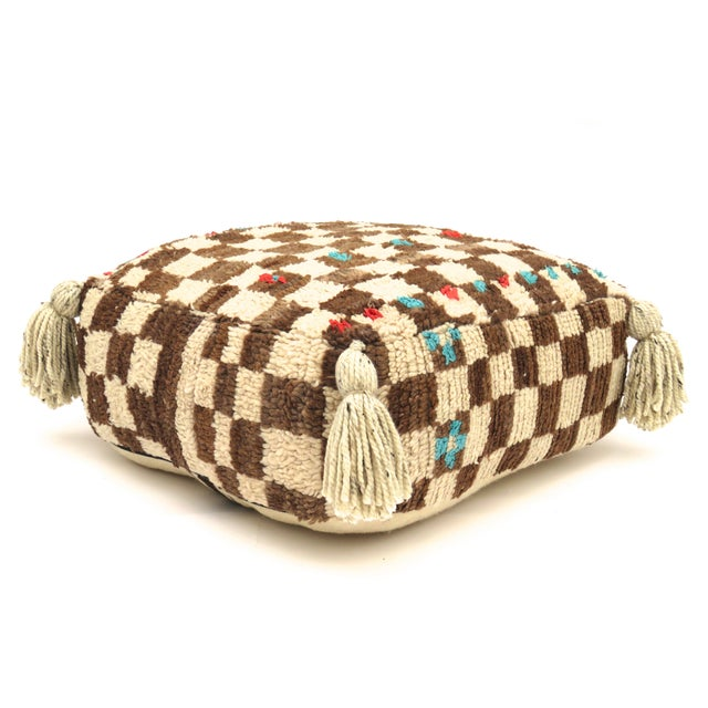 Vintage Mid Century Checkered Berber Pouf For Sale - Image 11 of 11