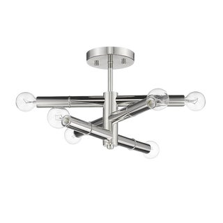 Linear 6 Light Semi-Flush Ceiling, Polished Nickel For Sale