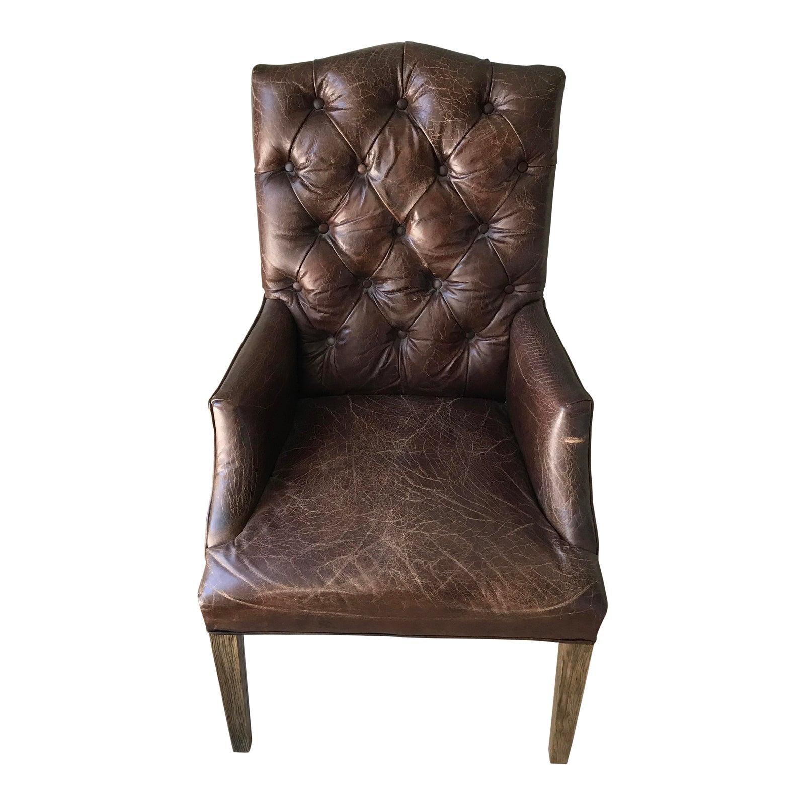 Restoration Hardware Leather Chair: Restoration Hardware Bennett Camelback Leather Arm Chair