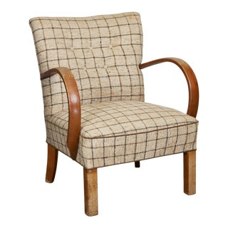 1940s Curved Arm Art Deco Chair For Sale