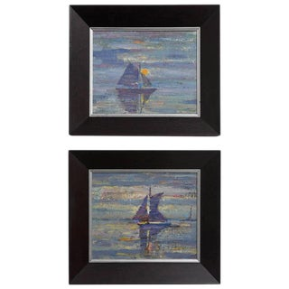 """American Mid-Century Modern Impressionist """"Sail Boats"""" Paintings - a Pair For Sale"""